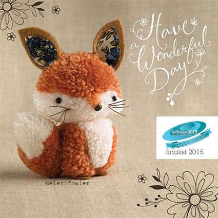 This cute little pom pom fox is just one character from the family of teeny pom pom animals, produced for a brand new greetings card range for Paper Rose.
