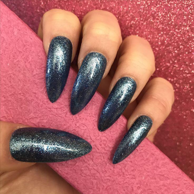Long Stiletto Blue Glitter Gel Nails www.nailituk.co.uk