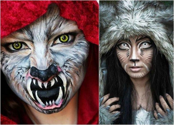 maquillage Halloween visage de loup avec lentilles