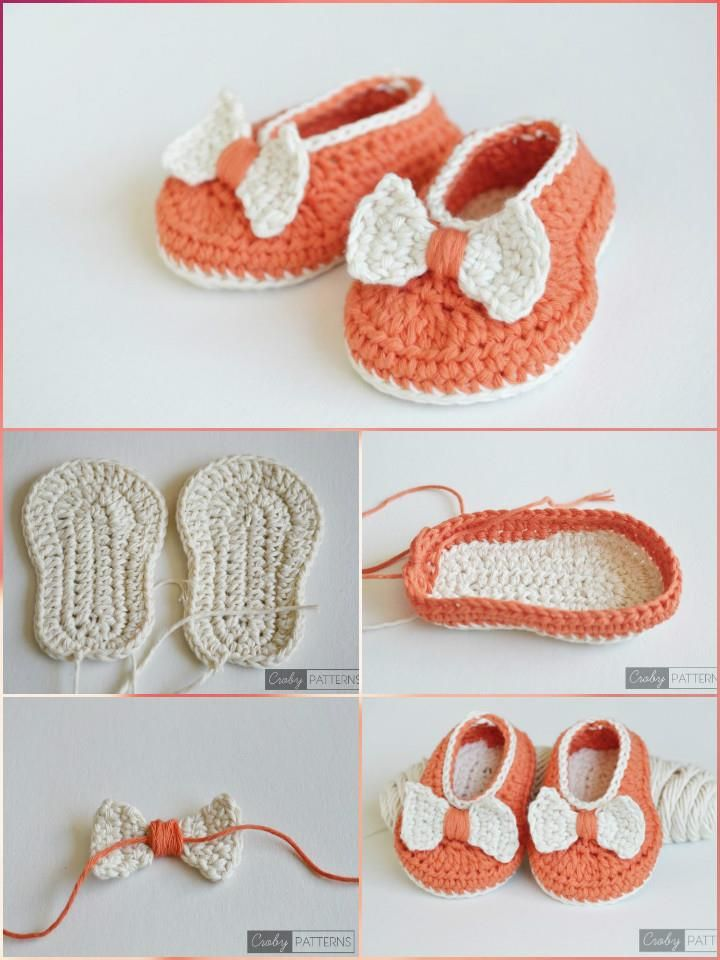 Crochet Orange Baby Bow Booties - Top 40 Free Crochet Baby Booties Patterns