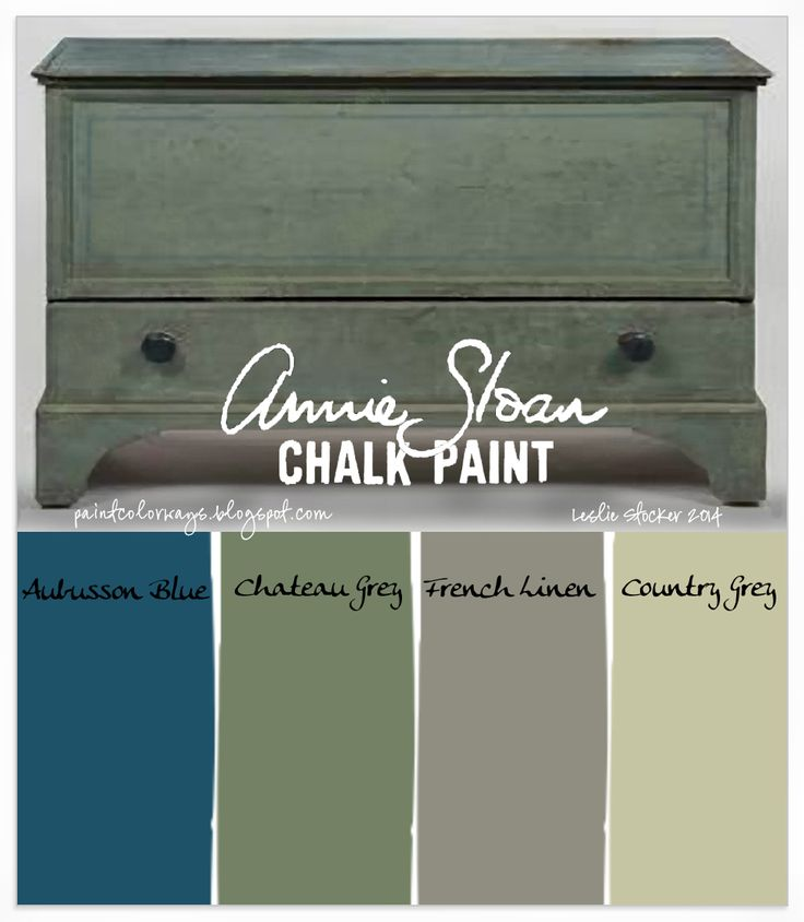 Adding a little Aubusson Blue to Annie Sloan Chalk Paint Chateau Grey will result in a green with strong blue undertones, as seen on the antique blanket chest above. French Linen and Country Grey for