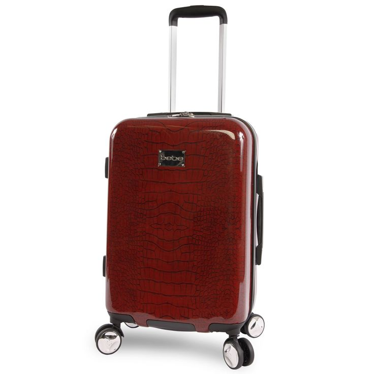 bebe Taylor Burgundy Croc Print 21-inch Hardside Spinner Carry-On Spinner Suitcase