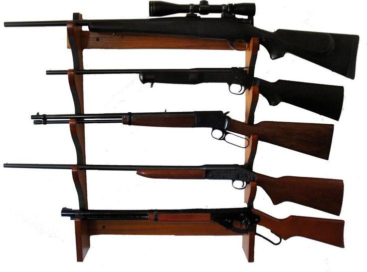 5 Rifle Gun Rack Wooden Weapon Storage Shotgun Wall Mount