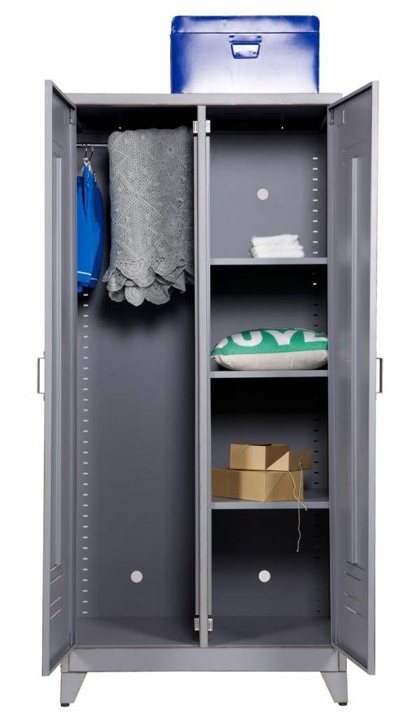 LEF collections Kast grijs metaal 185x85x50cm, MAX 2 DOOR LOCKER CABINET METAL GREY - wonenmetlef.nl