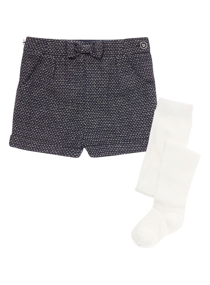 These sparkly tweed shorts are the perfect update for autumn. With a pretty bow detail and upturned cuffs, this piece comes with a pair of cotton-rich tights.   Girls navy sparkle tweed shorts Bow detail Waist pockets Upturned cuffs Comes with cotton rich tights Keep away from fire