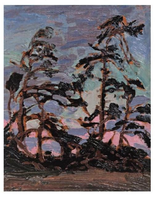 """Evening, Pine Island,"" Tom Thomson, 1914, oil on panel, 10.4 x 8.5"", private collection."