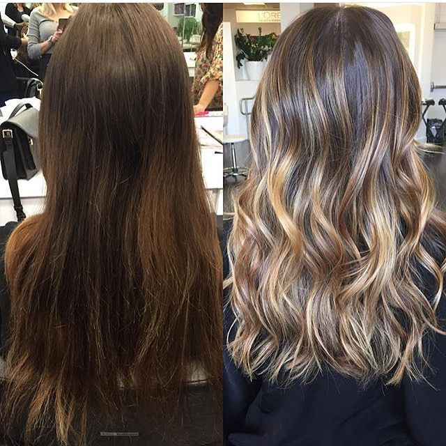 Seriously gorgeous brunette before and after. Color by @colorbyashley hair\u2026