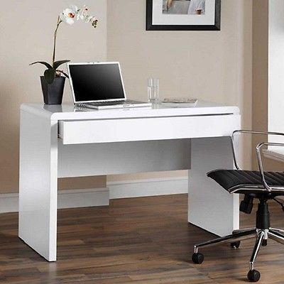 White Computer Desk High Gloss Home Office Table Workstation Student Laptop New