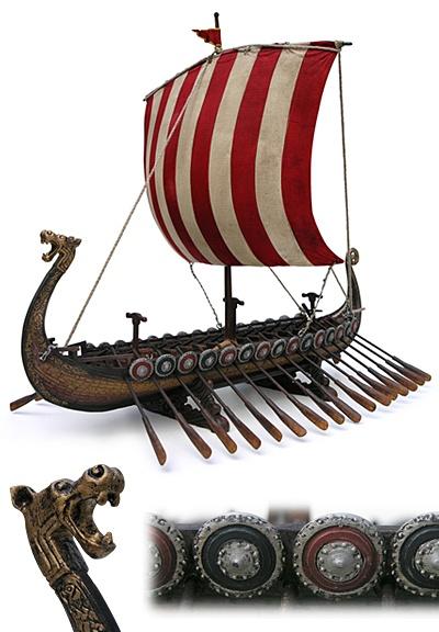 Viking longships.