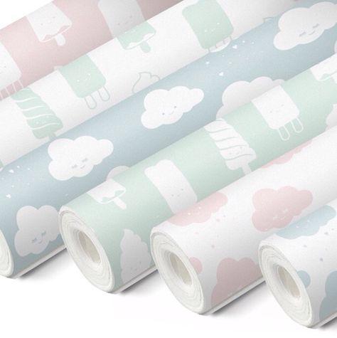 Leuk behangpapier voor 1 accentmuur: muntgroen met witte wolkjes.