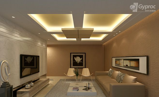 Living room ceiling designs saint gobain gyproc india for Drywall designs living room
