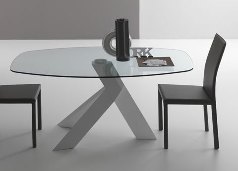Delightful Moa Round Or Oval Contemporary Glass Dining Table By Compar