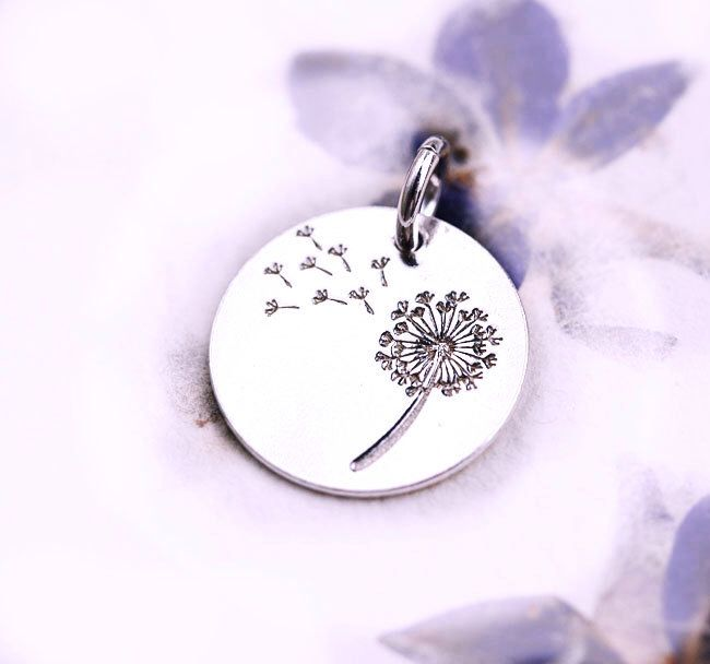 Silver Dandelion charm, Sterling silver 925 flower, dandelion pendant, 14mm - 1pc - F418 by MayaHoney on Etsy https://www.etsy.com/listing/266919436/silver-dandelion-charm-sterling-silver