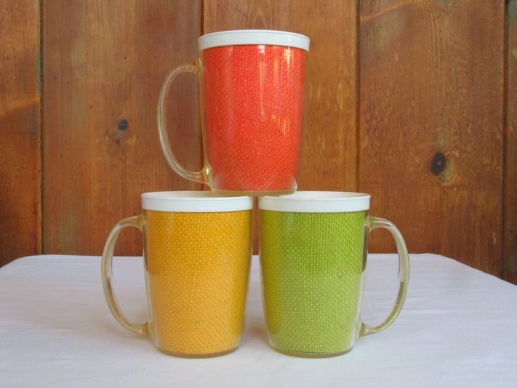 Retro Trio Insulated Coffee Mugs Multicolor Burlap Travel- Camping-Picnic-Pool Side Dining 11 ounce mugs in excellent vintage condition. by PinkyLaRoux on Etsy