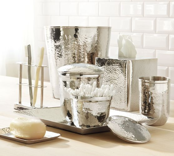Hammered Nickel Bath Accessories Pottery Barn Apartment Pinterest Products Bath