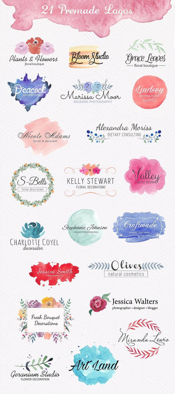 Watercolor Logo Bundle. DIY by Switzergirl on Creative Market / $20.00
