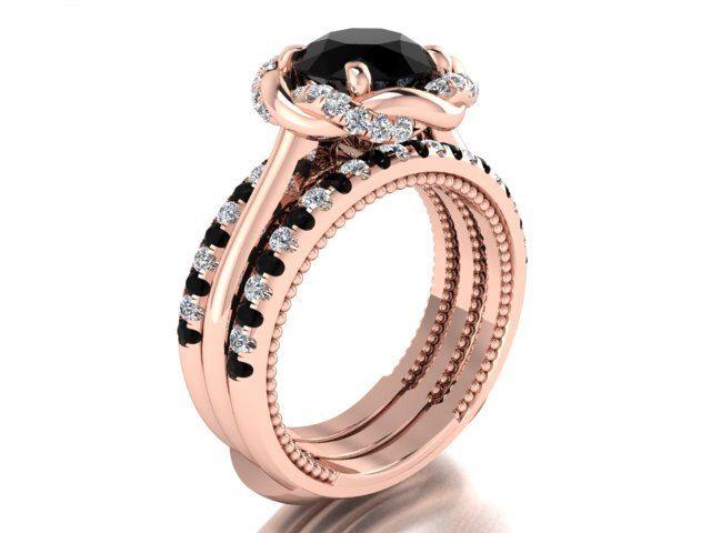 Bohemian Engagement ring set, Unique Engagement set, Classy mix of Genuine black and white alternating diamonds, Rose gold Bridal ring set by BridalRings on Etsy https://www.etsy.com/listing/255277027/bohemian-engagement-ring-set-unique