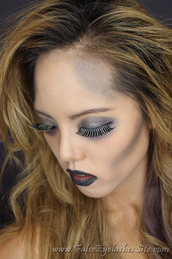 Halloween Zombie makeup using Elegant Lashes G234 ''Glow Stixx'' Long Black & White Glow in the Dark False Eyelash | Elegant Lashes - The best bulk false eyelash shop for pro makeup artists, salons, and dancers!