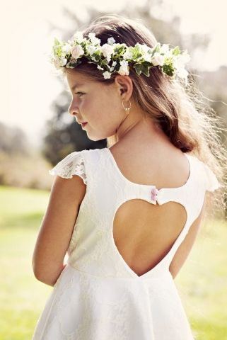 Wedding Flower Girl White Lace heart cut out Dress for girls - $114.95 : Marry Me Charlie, Your Online Wedding House | The Marketplace Making a Difference