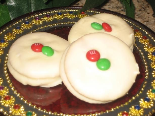 Ritz Cracker Cookies - No Bake - Candy Coated Recipe... I make these every Christmas in White Chocolate & Milk Chocolate... while the chocolate is still wet I sprinkle with christmas cookie sprinkles ... they are so pretty & taste so good. They don't stay around very long ! This is an easy peasy recipe to make.. but looks like you spent a lot of time on them! A Real Crowd Pleaser !