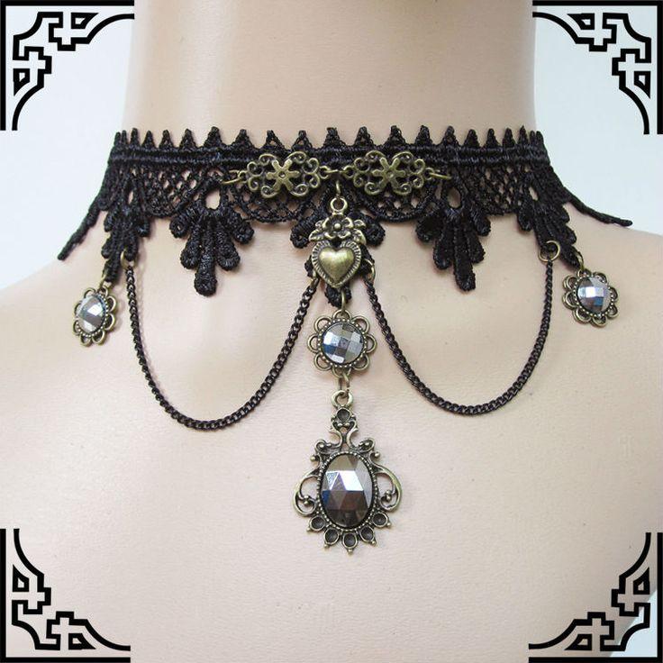 steampunk spain   mylove estilo gotico de encaje negro collar de cuello de encaje ...