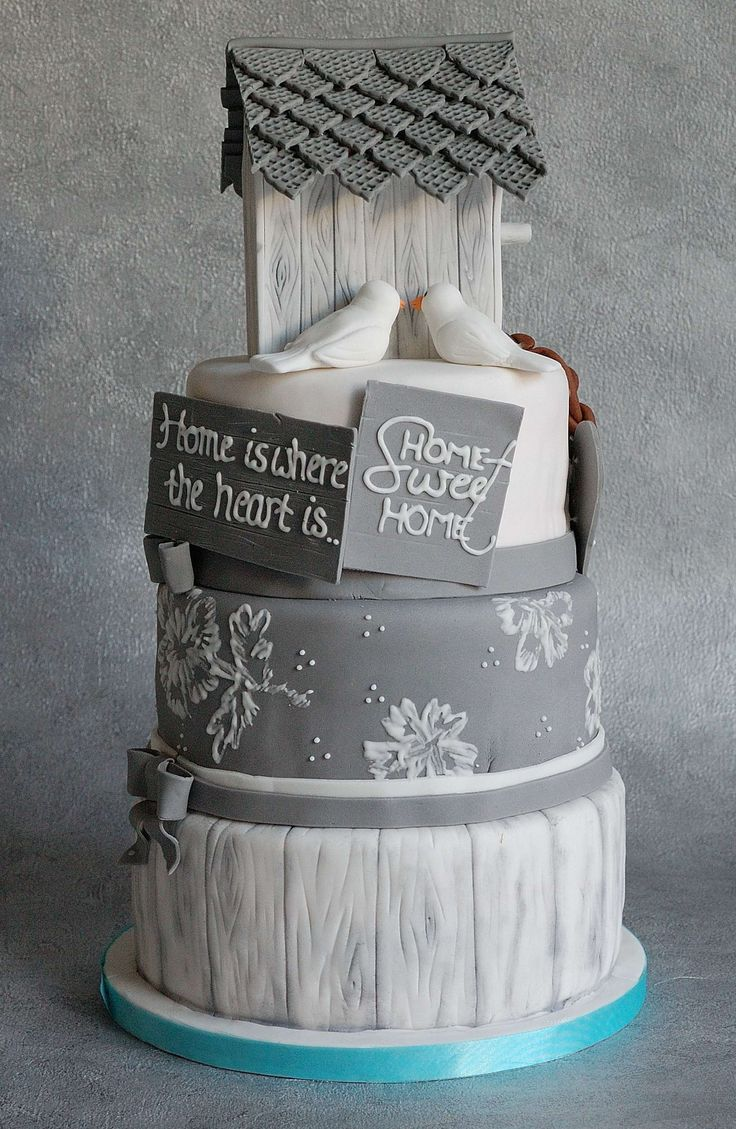 This gorgeous three-tier cake is the perfect treat for a housewarming party!