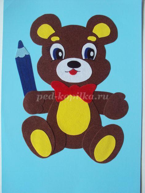 Аппликация из бархатной цветной бумаги для детей 1-2 класса Мишка. Шаблоны…