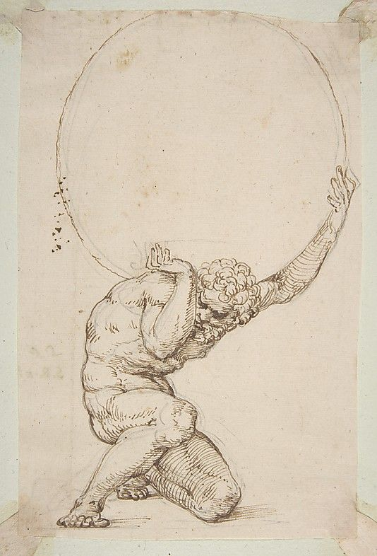 "Crouching Figure of Atlas  Baldassare Tommaso Peruzzi  (Italian, Ancaiano 1481–1536 Rome); On verso, annotated in pen and brown ink, by the hand usually identified with the ""Borghese Sagredo"" album (Zaccaria Sagredo?), ""22/ S.R [...]""."