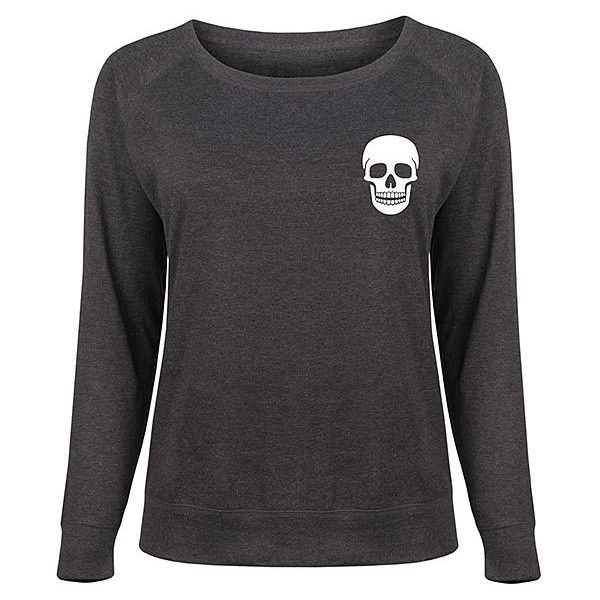 Festuvius Plus Heather Charcoal Skull Slouchy Pullover (155 HRK) ❤ liked on Polyvore featuring plus size women's fashion, plus size clothing, plus size tops, plus size, womens plus tops, pullover top, plus size skull tops, slouchy tops and slouchy pullover