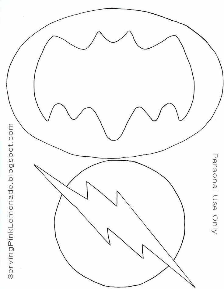 Templates for the super hero masks, batman and flash logos.