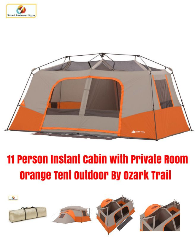 11 Person Instant Cabin with Private Room Orange Tent Outdoor By