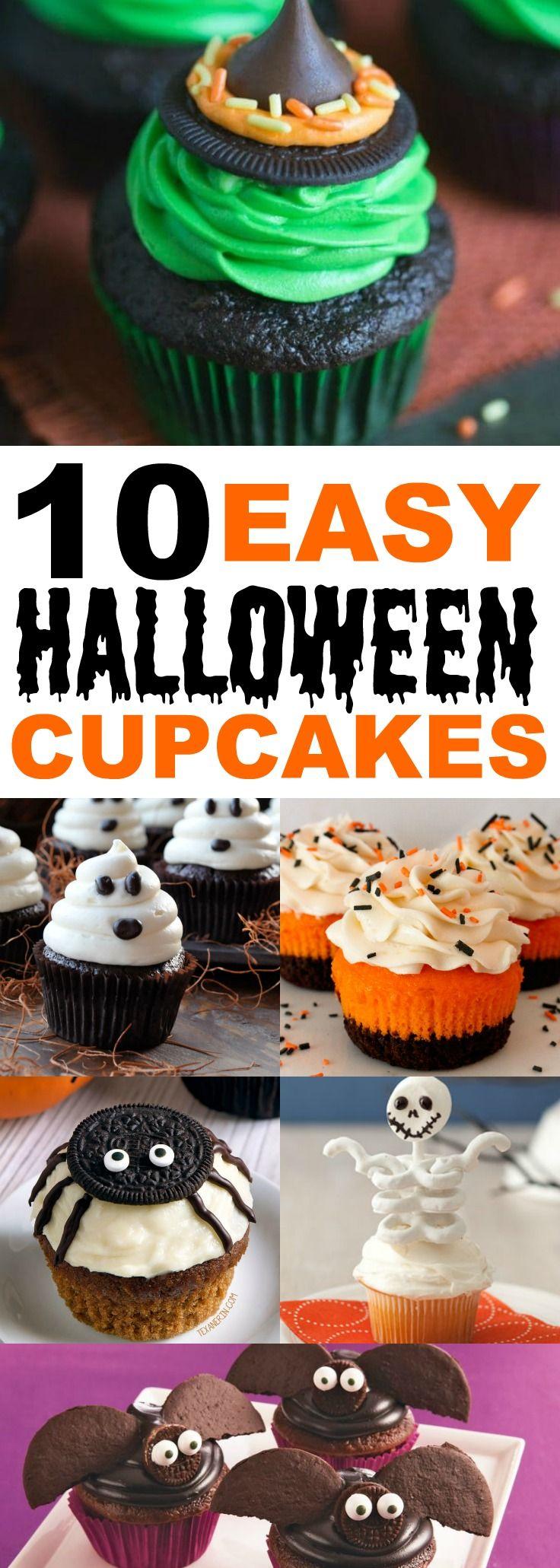 10 Easy Halloween Cupcake Ideas, Halloween desserts, #trickortreat, halloween potluck food, Halloween cupcakes