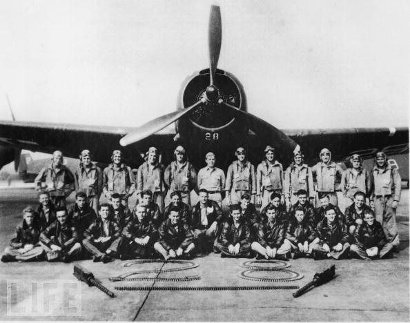 "Portrait of legendary Lost Squadron in front of #28, the lead plane of ""Flight   19"" that supposedly vanished into the Bermuda Triangle shortly after WWII.    Flight 19 was the designation of five TBM Avenger torpedo bombers that disappeared   on Wednesday, December 5, 1945 during a Navy-authorized navigation training flight from Naval Air Station Fort Lauderdale, Florida. All 14 airmen on the flight were lost."