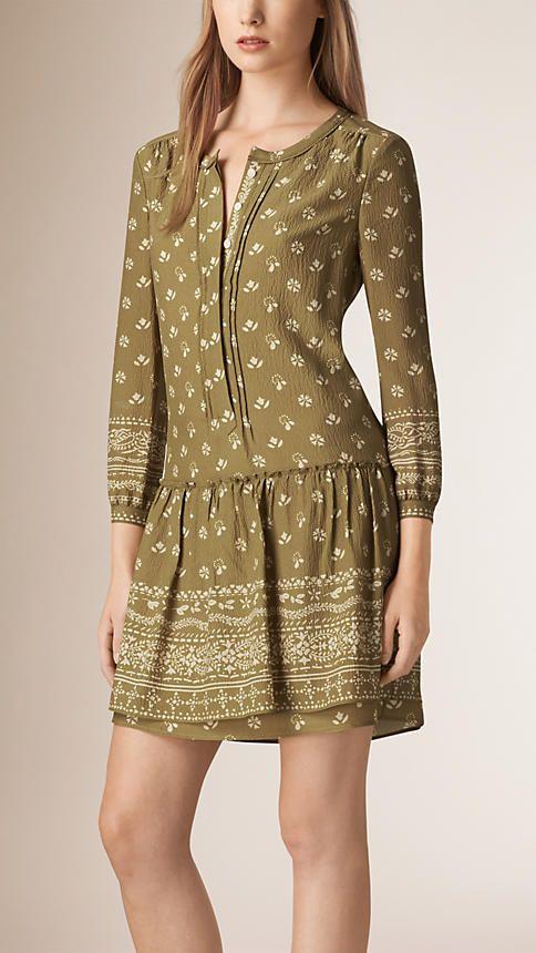 Vert ocre Robe tunique à imprimé bandana - Image 1