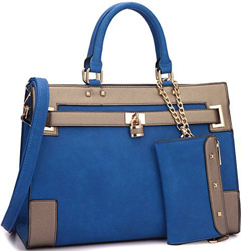 New Trending Briefcases amp; Laptop Bags: Dasein Fashion Womens Top Handle Briefcase Satchel Bag Double Belted Padlock Work Handbag w/ Coin Purse and Detachable Shoulder Strap (Blue/Pewter). Dasein Fashion Women's Top Handle Briefcase Satchel Bag Double Belted Padlock Work Handbag w/ Coin Purse and Detachable Shoulder Strap (Blue/Pewter)  Special Offer: $38.99  155 Reviews About This Product We suggest comparing it to a bag you already own to make