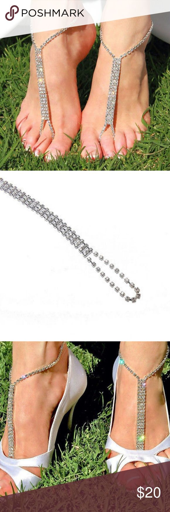 """Rhinestone Crystal Bare Foot Sandal Anklet Rhinestone Crystal Bare Foot Sandal Anklet  Delicate, Elegant and beautiful. This barefoot sandal can be worn with or without shoes. Perfect for proms, parties, or anytime you want to add a bit of glamour. Adjustable around the ankle to 9"""" with claw clasp approximately 6"""" from ankle to toe. Jewelry"""