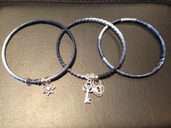 Handmade embroidery thread wrapped set of 3 bangle bracelets with charms on Etsy, $10.00 CAD