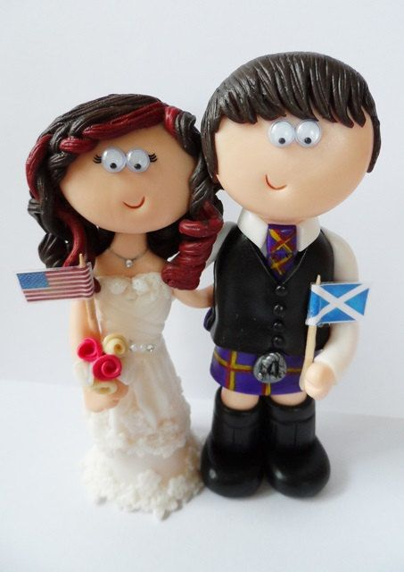 Custom handmade, Bride & Groom personalised Scottish Scotland Wedding topper,they look like you in any kilt outfits or poses, worldwide ship by googlygiftscaketops on Etsy https://www.etsy.com/listing/161052216/custom-handmade-bride-groom-personalised
