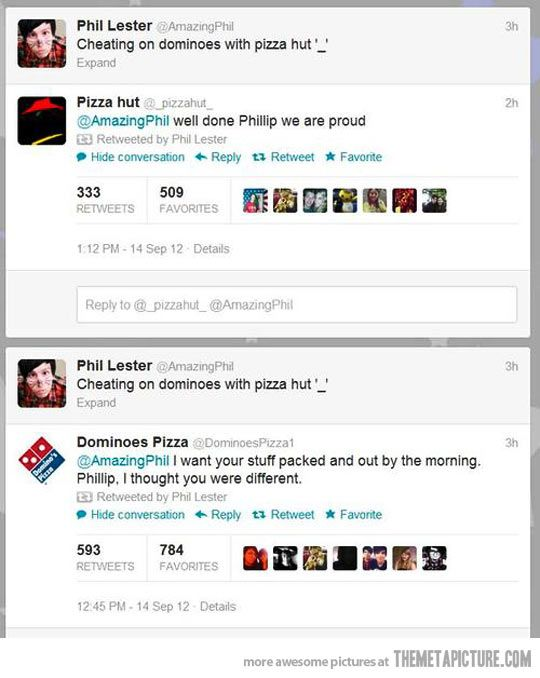 Caught cheating… Dominoes vs Pizza Hut... how this happened - nope not asking questions xx<<< Phil Lester, don't question him. :)