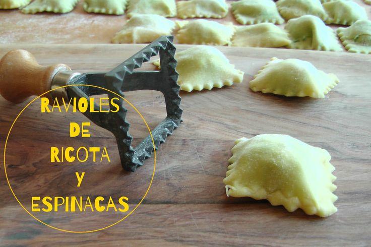Cómo hacer RAVIOLES CASEROS DE ESPINACAS y RICOTA, sin carne. Ravioli sp...