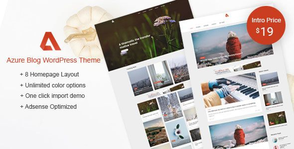 AD: Azure - Blog WordPress Themes - Personal Blog / Magazine 19$