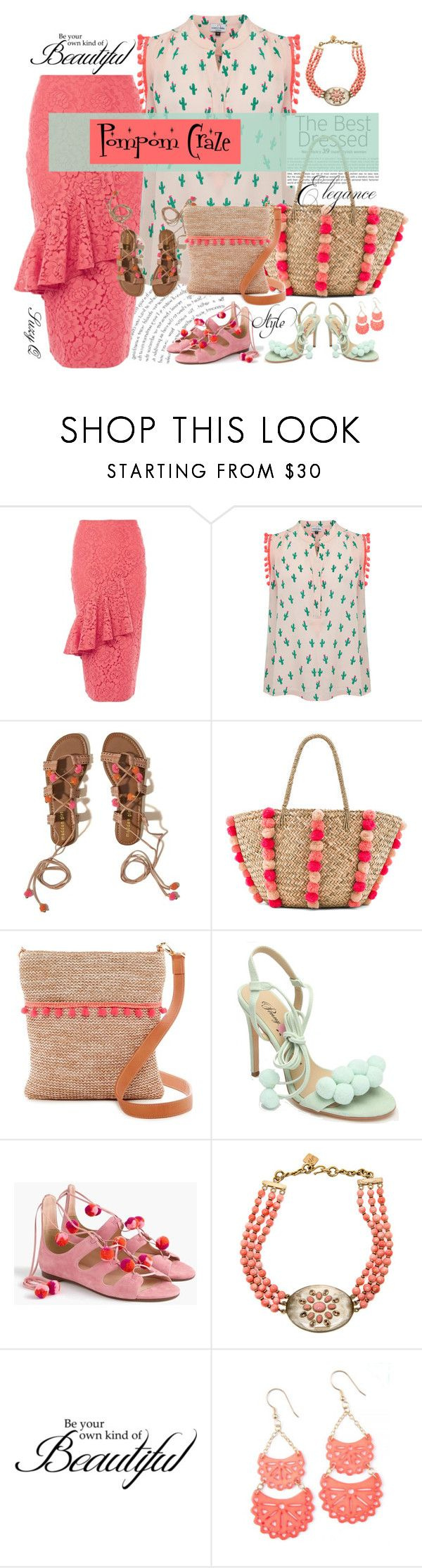 """""""POMPOM CRAZE"""" by polyvore-suzyq ❤ liked on Polyvore featuring Hope and Ivy, Mercy Delta, Hollister Co., Seafolly, SR Squared by Sondra Roberts, Penny Loves Kenny, J.Crew and WALL"""