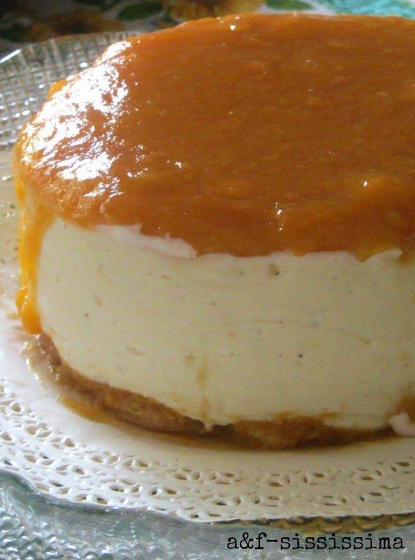 cheesecake con crema e albicocche al Moscato d'Asti