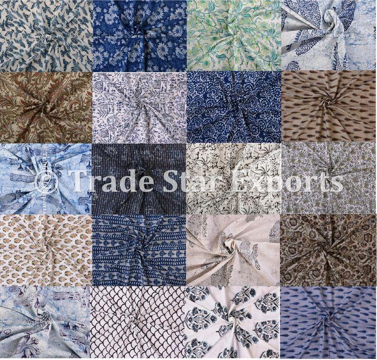 Indian Handmade Fabric Ethnic Block Print Cotton Voile 10 Yards Fabric  #Handmade