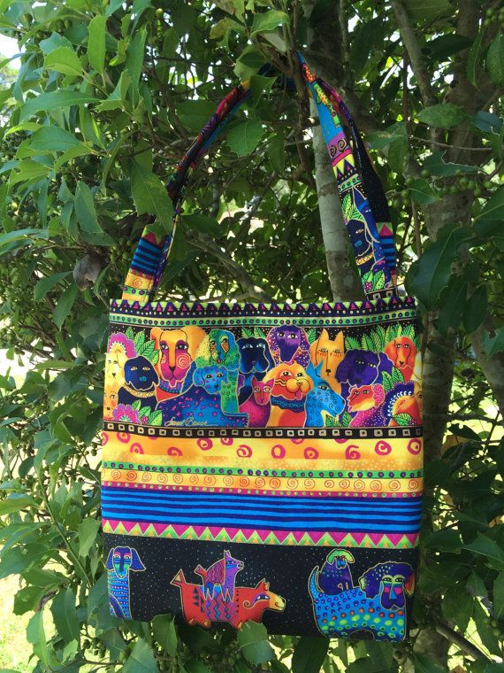 Laurel Burch honden stof handtas schoudertas thema door CraftsByNess