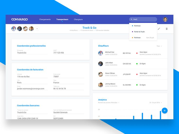 Hello everyone!  I recently joined a startup called Convargo.  I started designing the admin part of the back office with the constraint of using Google's Material UI components in order to acceler...