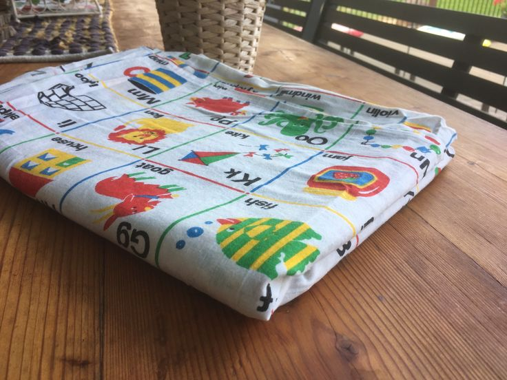 Excited to share the latest addition to my #etsy shop: 1970's Vintage Childrens  Bed Sheet-Flat Sheet-Twin Sheet-Alphabet Bed Sheet- Vintage Fabric.