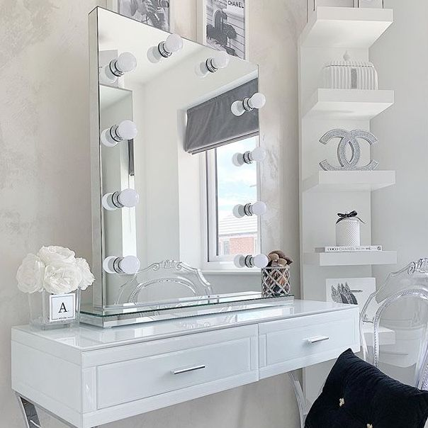 Diaz Hollywood Mirror Portrait 80 X 60cm Free Standing Wall Mounted Dressing Room Decor Stylish Bedroom Dressing Table Mirror