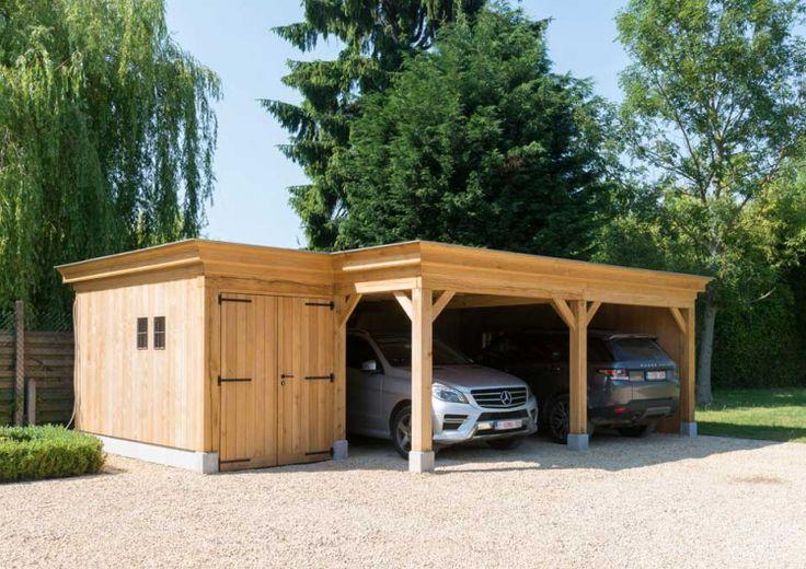 Carport plaatsen dubbele carport met fietsenstalling