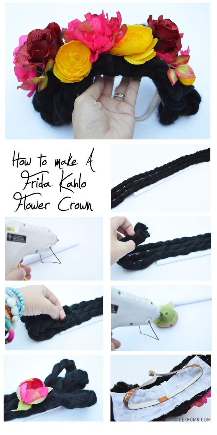 frida kahlo flower crown tutorial